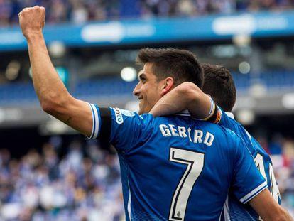 Gerard Moreno celebra su gol ante el Málaga.