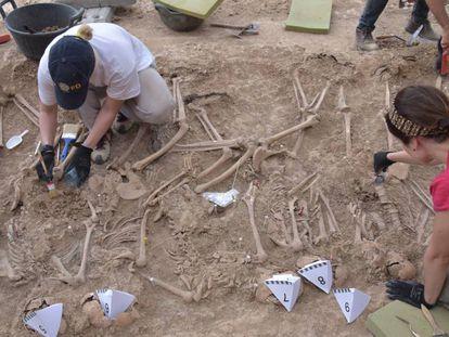 Fosa común exhumada ayer en Figuerola d'Orcau.