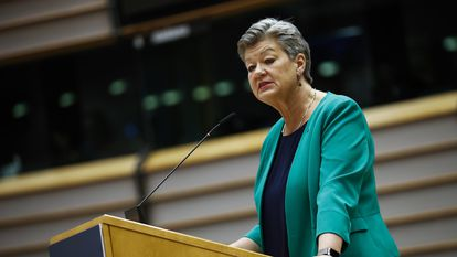 La comisaria de Interior, Ylva Johansson, este martes en el Parlamento Europeo (Bruselas).