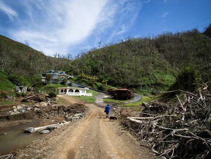 Un hombre camina hacia su casa entre la destrucción provocada por le huracán 'Irma' en Barranquitas, Puerto Rico.