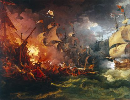 'Derrota de la Armada Invencible', pintura de Philippe-Jacques de Loutherbourg (1796).