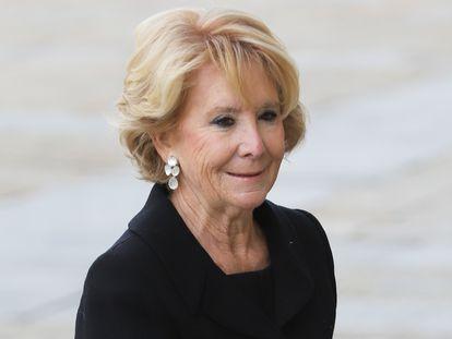 Esperanza Aguirre, en el funeral de Pilar de Borbón en El Escorial (Madrid) en enero de 2020.