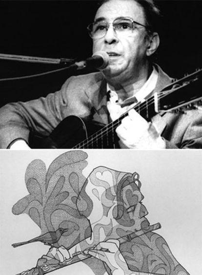 João Gilberto (a la izquierda) y Vinicius de Moraes.  Debajo, Antonio Carlos Jobim dibujado por Loredano.