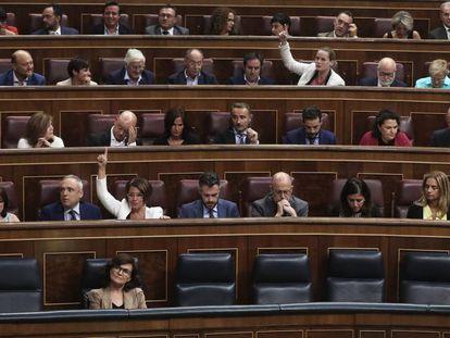 La bancada socialista, el pasado miércoles.