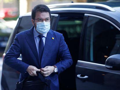 El vicepresidente de la Generalitat, Pere Aragonès, a su llegada al Parlament el pasado jueves.