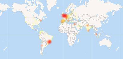 Mapa de la procedencia de los informes sobre la caída de WhatsApp (downdetector.com)