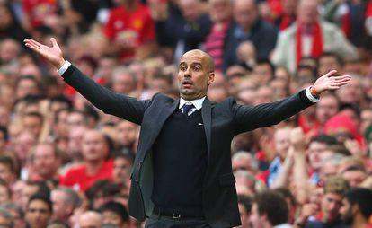 Guardiola, en el derbi de Manchester.