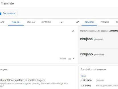 Traducción de Google en la que incorpora el género.