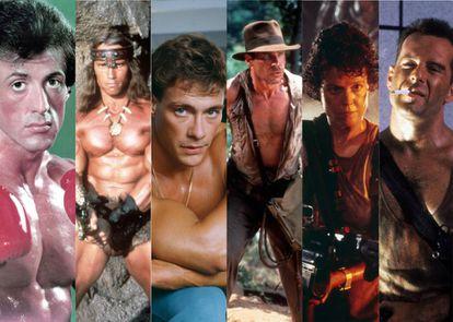 Sylvester Stallone, Arnold Schwarzenegger, Jean Claude Van Damme, Harrison Ford, Sigourney Weaver y Bruce WIllis: cinco héroes (y una heroína) de acción de los noventa que han visto cómo sus carreras tomaban caminos dispares.
