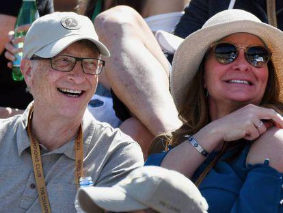 Bill Gates su esposa Melinda Gates en el BNP Paribas Open de tenis el pasado marzo.