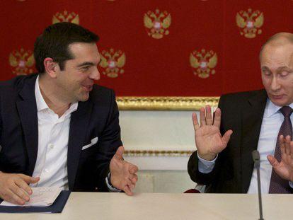 Tsipras y Putin, este miércoles en Moscú.