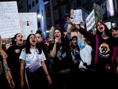 Manifestación en Madrid por el 8 de Marzo, día internacional de la mujer.
