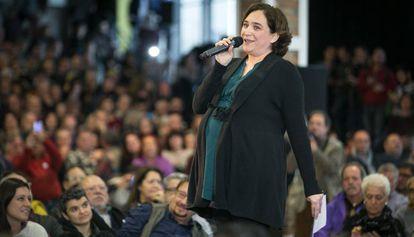 Ada Colau, en el acto de Cotxeres de Sants