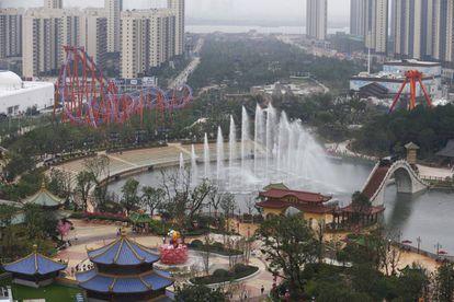Vista de parte del parque de atracciones de Wanda en Nanchang.