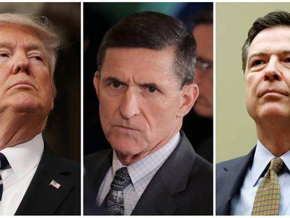 Combinación de fotografías de Trump, Flynn y Comey