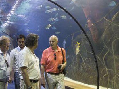 Responsables de Avanqua recorren con responsables del acuario de Vancouver las instalaciones de CACSA en Valencia.