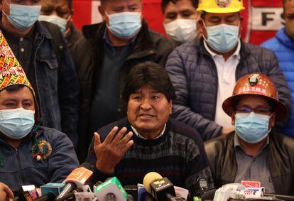 El presidente del MAS, el exmandatario Evo Morales, este mes en La Paz.