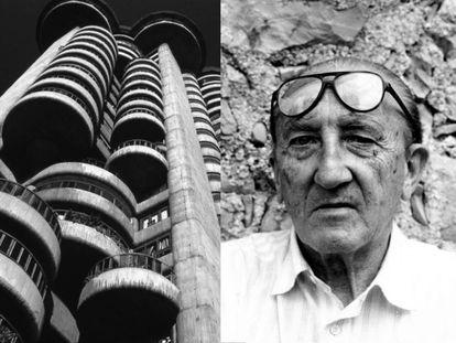 A la izquierda, Torres Blancas, en Madrid, una de las obras más emblemáticas del arquitecto navarro. A la derecha, Francisco Javier Sáenz de Oiza en su casa de Mallorca. |