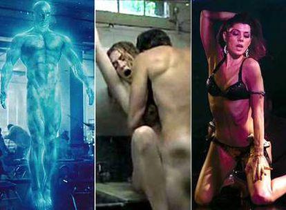 De izquierda a derecha, fotogramas de <i>Watchmen, Juegos secretos </i>y El luchador.