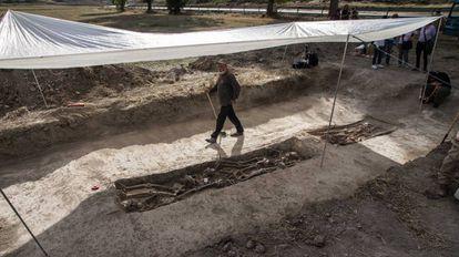 Trabajos de exhumación de una fosa común en Cobertelada, Soria.