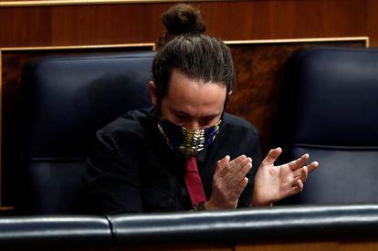 El vicepresidente segundo del Gobierno, Pablo Iglesias, durante la sesión de control al Gobierno este miércoles en el Congreso.