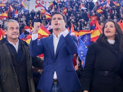 Albert Rivera e Inés Arrimadas, en un acto de Ciudadanos en abril de 2019 en Madrid.