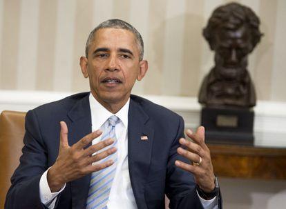 Barack Obama, durante un anuncio oficial desde el Despacho Oval, el miércoles en la Casa Blanca.