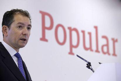 El consejero delegado del Banco Popular, Francisco Gómez, en la presentación de resultados del primer trimestre