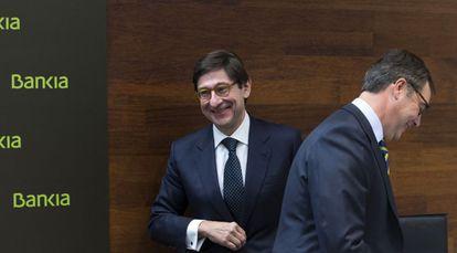 El presidente de Bankia, José Ignacio Goirigolzarri, el consejero delegado, José Sevilla, el 31 de marzo de 2016.