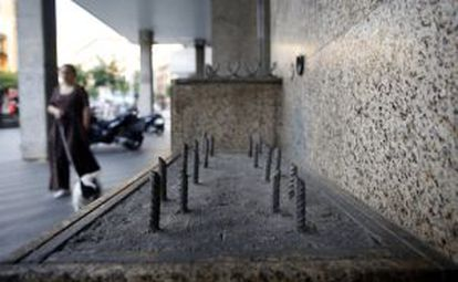 Pinchos en la plaza Soledad Torres Acosta de Madrid.