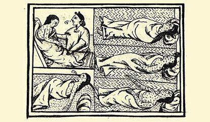 Enfermos de viruela o hueyzáhuatl durante el sitio a Tenochtitlan. Códice Florentino, lib. XII, f. 53v