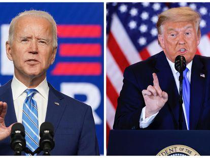 Joe Biden, a la izquierda, y Donald Trump, a la derecha, se girigen a los medios en la madrugada del 4 de noviembre sobre los primeros datos de la noche electoral.