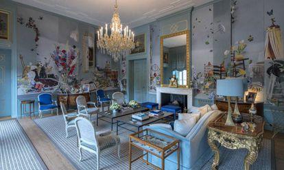 El salón azul del palacio Huis ten Bosch de los reyes de Holanda.