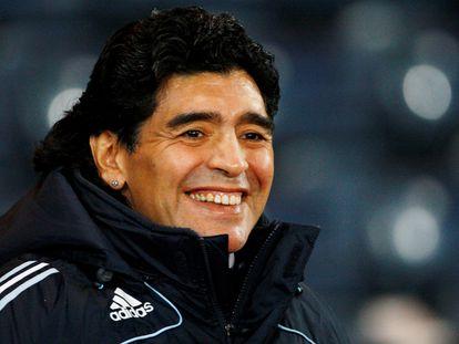 Diego Armando Maradona, durante su etapa como seleccionador de Argentina, en un partido contra Escocia en Glasgow en noviembre de 2008.