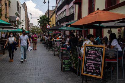 Una terraza en el centro de la Ciudad de México, en marzo de 2021.