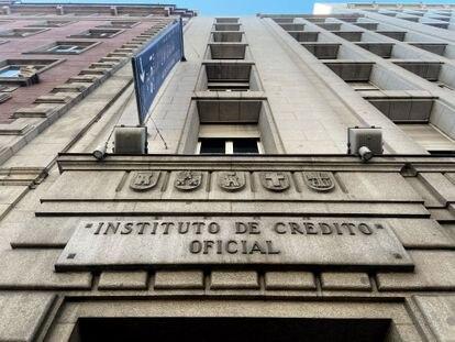 Fachada del Instituto de Crédito Oficial, en el paseo del Prado de Madrid en enero de 2020.