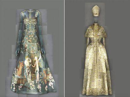 Vestido de Grazia Chiuri y Piccioli para Valentino con obra de Lucas Cranach el Viejo (izquierda) y conjunto de noche de John Galliano para Christian Dior, en la exposición 'Moda celestial' del Metropolitan.