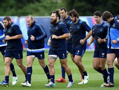 Selección italiana de rugby entrenando de cara al Mundial.