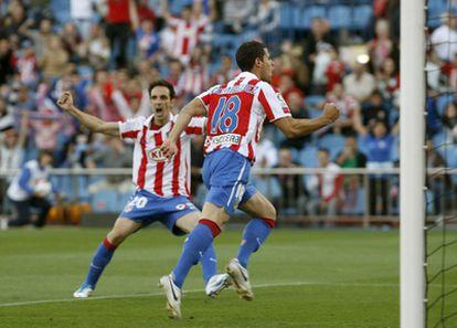 Domínguez celebra su gol frente al Hércules.