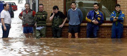 Inundaciones producidas en Villaviciosa, uno de los municipios más afectados en la comarca central de Asturias.