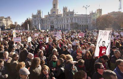 Manifestación de afectados por la hepatitis C en Madrid.