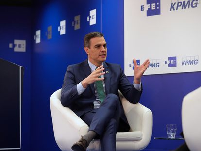 El presidente del Gobierno, Pedro Sánchez, durante su intervención este miércoles en un encuentro organizado por la agencia Efe.