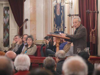 El actor y director de teatro José Luis Gómez, en el acto de homenaje a Santos Juliá en Alcalá de Henares.