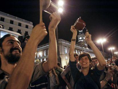 Un momento de la celebración en Madrid del aniversario del 15-M.