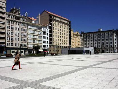 Aspecto actual de la plaza de España de Ferrol, la puerta de entrada a la ciudad.