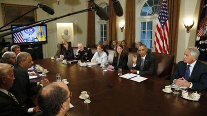 Reunión del Gabinete de Barack Obama que se ocupa del ébola.