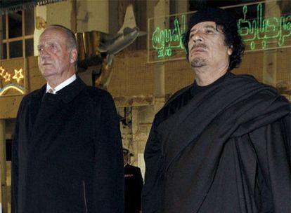 El Rey junto a Muammar el Gaddafi en Libia