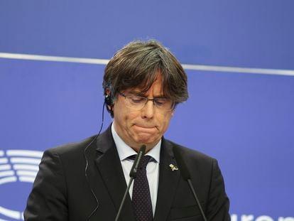 El eurodiputado Carles Puigdemont, durante la rueda de prensa, este martes.