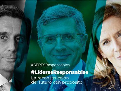 Álvarez-Pallete, presidente ejecutivo de Telefónica, Francisco Román, de Fundación Seres, y Marieta Jiménez (MerckGroup) en los diálogos de #LíderesResponsables.
