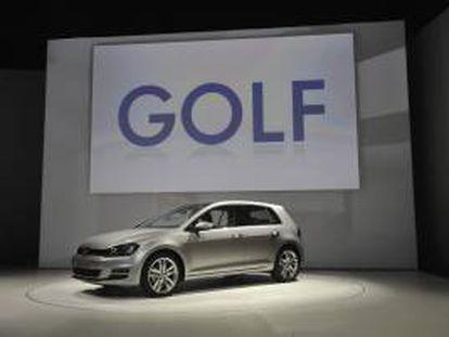 Vista general del nuevo Volkswagen GOLF presentado en el Salón Internacional del Automóvil de Nueva York, EE.UU.